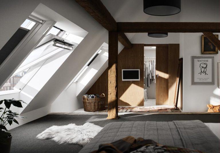 Галерея окон спальне в мансарде